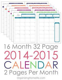 2014-2015 Printable Calendar via Organizing Homelife