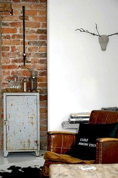 #interior #decor #styling #industrial #brick #locker #antler #chair #cushion