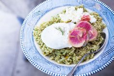 sorrel rice, poached egg, sprig of dill and radishes!