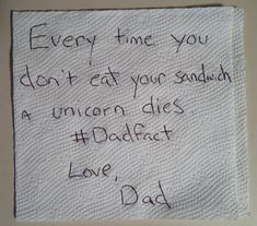This is awesome! It reminds me of when I was little and my dad sent me napkin notes in my lunch