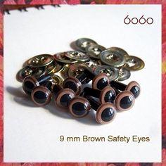 9mm Safety eyes Animals eyes Soft toys teddy bears eyes by 6060, $3.20