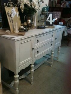 Use Americana Decor Chalky Finish to update a dated buffet. @Home Depot @Michaels Stores @DecoArt Inc. #chalkpaint #chalkyfinish