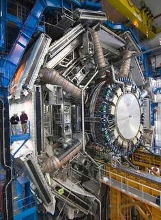Large Hadron Collider in the CERN Center, Geneve - 5 stories high but all underground. Started in the 1980's and built with scientists from all over the world to find the 'God Particle'