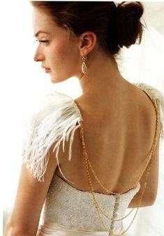 feathers on  Wedding Dress