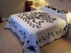 """I absolutely love this handmade, hand embroidered and beautiful quilt """"The Tree of Life"""""""