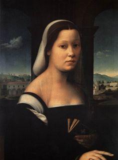 "Ridolfo GHIRLANDAIO. Portrait of a Woman, called ""The Nun""  1506-10  Oil on wood, 65 x 48 cm  Galleria degli Uffizi, Florence"