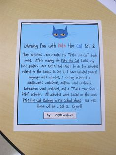 """These activities were created for """"Pete the Cat"""" book lovers.  After reading the Pete the Cat books, my first graders were excited and ready to do fun activities related to the books. In Set 2, I have included several language arts activities, 2 writing activities, a needs/wants worksheet, addition word problems, subtraction word problems, and a """"Make your Own Pete"""" activity.  All activities were based on the book Pete the Cat Rocking in My School Shoes.  And yes there will be a Set 3.  Enjoy!!!"""