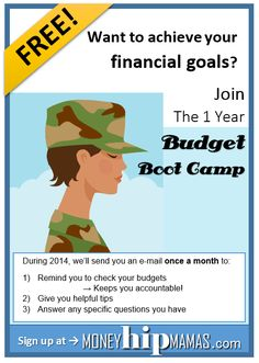 Definitely signing up for this! Budget Boot Camp: Free monthly reminder with tips about how to budget (including money-saving tips). Awesome! From Money Hip Mamas.