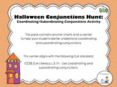 """Halloween Conjunctions Hunt - sentence cards, recording sheet, answer key, and freebie anchor charts (anchor charts are in free """"Preview;"""" $2.00 for center)"""