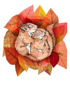 Squirrel Spoon // A3 print by SandraDieckmann on Etsy, £19.00