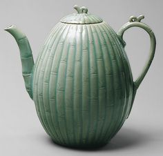 Melon-shaped wine ewer, Goryeo dynasty (918–1392), 12th century  Korea  Stoneware with carved and incised decoration of bamboo under celadon glaze