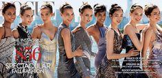 Vogue, September 2014. Photographed by Mario Testino.  From left: Joan Smalls, Cara Delevingne, Karlie Kloss, Arizona Muse, Edie Campbell, Imaan Hammam, Fei Fei Sun, Vanessa Axente, Andreea Diaconu.