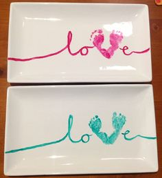 Love Baby Footprint Craft Idea. Gifting. Buy platter of choice from Spotlight along with ceramic paint. Scroll the letters and use your babies footprint for the V. Allow to dry for 24hours then bake on 150 deg cels for 35mins.