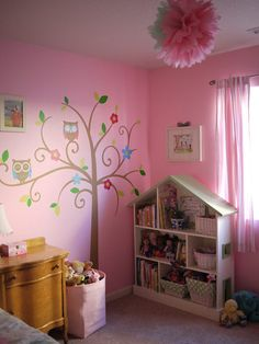 I love the idea of having a dollhouse as a bookcase for a babies room til they're old enough to play with it.