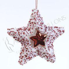 ADDOBBI E PALLINE NATALIZIE, Stella con paillettes rosso e bianco, NATALE - Christmas Store