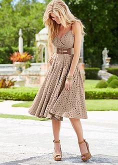 Oval eyelet dress, peep toe ankle strap heel