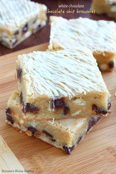 White chocolate chocolate chip brownies recipe from Roxanashomebaking.com