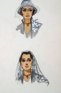 Edith Head sketch for Sophia Loren in The Black Orchid (1958)