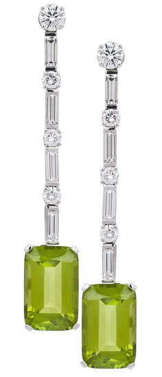 Art Deco Emerald Cut Peridot and Diamond Earrings ~ Colette Le Mason @}-,-;---