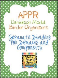 APPR Binder Organizer Dividers Based on Danielson Teacher Model