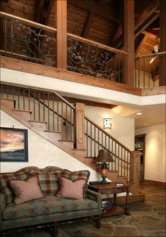 loft wall, stairway loft, mountain, rail design, log cabin, loft design, room