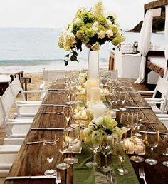 #ocean #wedding #hydrangeas