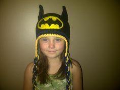 Batman Hat Crocheted in Sizes Newborn to Adult. $35.00, via Etsy.