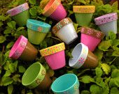 Childrens Party Favor Custom Hand Painted Flower Pots