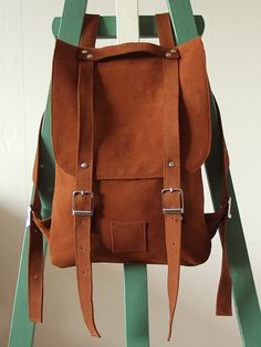 Saddle Brown leather backpack