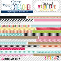 36 Patterned Washi Tape Borders (Long) by The 3AM Teacher!! $