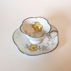 Pretty Hand Painted Demitasse Cup and Saucer