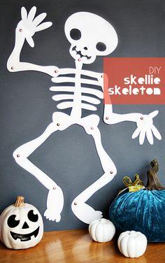 skellie skeleton DIY - halloween decor craft idea - DIY Halloween decorations with kids