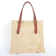 Leather Canvas Tote Shoulder BagCow Leather CANVAS by SoBag1989