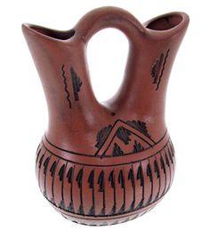 Native American Wedding Vase Pottery by Navajo Artist Bernice Watchman Lee KS65513
