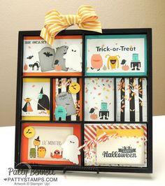 Memory tray for Halloween with project life cards, motley monsters DSP and Freaky Friends stamps from Stampin' Up! by Patty Bennett www.PattySTamps.com #stampinup #PLxSU #halloween