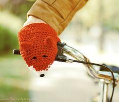 Bike Fox Handwarmers Gloves Wool Crochet  by warmYourself