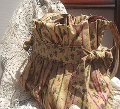 Feminine Ruffled Purse of Victorian Inspired Roses and Stripes Fabric  I LOVE this