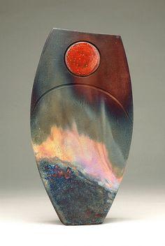 Shaun Hall ~ Aurora (fumed copper matt) Raku.