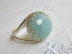Amazonite ring Silver ring Vintage ring Silver by EldorTinaJewelry, $58.00