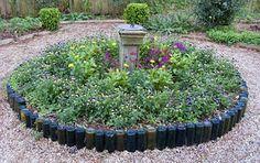 cork, yard, garden borders, recycle wine bottles, garden edging, beer bottles, flower beds, garden beds, old bottles