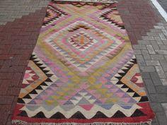 """Turkish Handwoven Milas Kilim Natural Wool Rug Carpet 96.4"""" x 55.1"""""""
