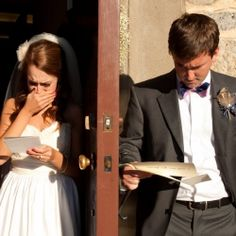 The bride and groom share a special, private moment together before the ceremony—without seeing each other! writing love letters to each other and reading them = perfect... yes yes YES so doing this