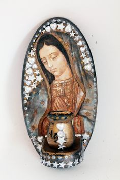 Vintage Virgin Mary Ex voto Our Lady of Guadalupe on upcycled recycled vintage wood altar shelf Mexican folk art
