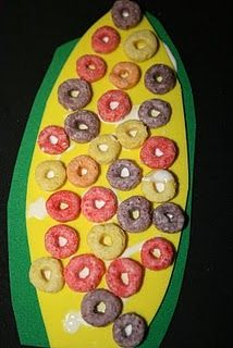 Indian corn craft with foam and fruit loops
