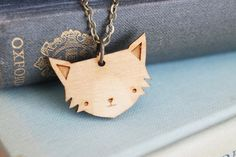 Wooden Cat Necklace by GingerPickle1 on etsy!