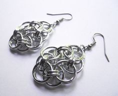 Chainmaille earrings Helm flowers Rosettes Bright by DoBatsEatCats, $15.00