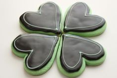 mint cut out cookies and dark chocolate icing