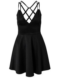 Black V Neck Open Back Dress