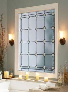 Bathroom Window Treatments ~ Bali Blinds/Film idea instead of curtains
