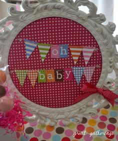 painted frames, banner read, banner board, shower banner, shower idea, babi shower, baby showers